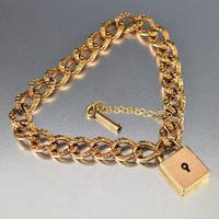 Fine Rose Gold Padlock & Key Charm Curb Chain Bracelet