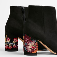 Embroidered Sequin Heel Ankle Booties