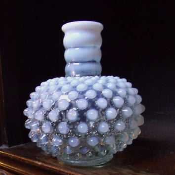 Vintage Moonstone Opalescent Hobnail Perfume Bottle or Bud Vase