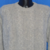 90s Pendleton Cable Knit Gray Wool Crewneck Sweater Large