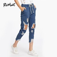ROMWE Drawstring Waist Ripped Jeans For Woman Blue Extreme Destroyed Casual Crop Denim Pants 2017 Fall Tapered Raw Hem Jeans