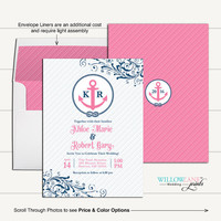 Pink and Navy Nautical Wedding Invitations | printable or printed - WLP00559
