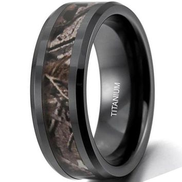 CERTIFIED 8MM Titanium Hunting Ring Wedding Band Black Plated Camo Camouflage Inlay | FREE ENGRAVING