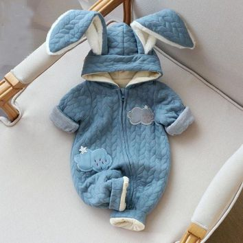 Cloudy Rabbit Ear Hooded Romper