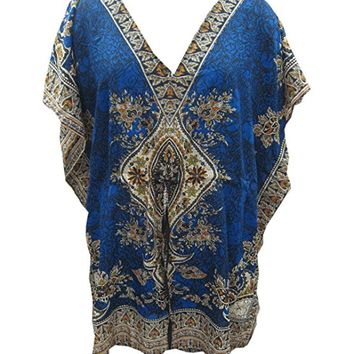 Mogul Women's Kaftan Short Caftan Blue Cover up Dashiki Print Beach Dress