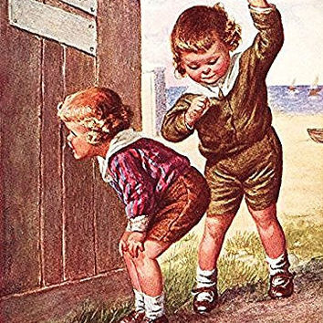 Boy Peeking into Ladies Outhouse Bathroom Picture on Stretched Canvas Wall Art Decor, Ready to Hang!
