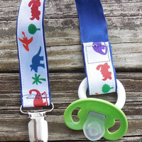 Colorful Dinosaurs Ribbon, Blue Pacifier Holder, Binky Clip, Pacifier Clip or Toy Clip