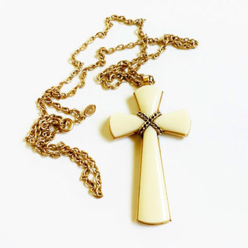 Cross Necklace, Vintage Avon Jewelry, White Celluloid Cross With Gold Chain, Large Cross Pendant, Signed, Catholic, Religious Jewelry