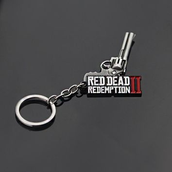 Hot Game Jewelry Keychain Red Dead Redemption 2 Holder Metal Weapon Gun Model Keyring For Men Car Accessory