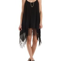 Fringe-Trim Trapeze Dress by Charlotte Russe