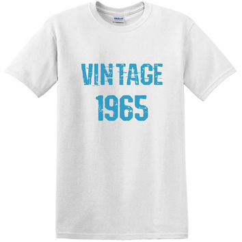 1975 Vintage 50th Birthday Year Born Mens & Womens Colors - Shirt For Mom Or Dad - Blue or Pink Text - Old Shirt Gift Perfect Present 2276