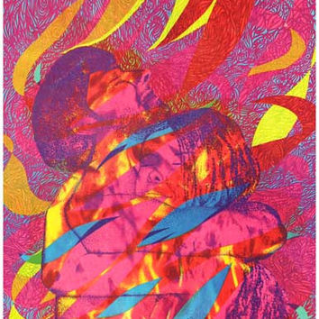 Light My Fire Psychedelic Love Embrace Art Poster 11x17