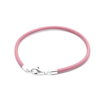 Pink Leather Bracelet , Genuine 3mm  Pink  Leather  ,  Stacking Bracelet  ,  Simple Leather Bracelet,