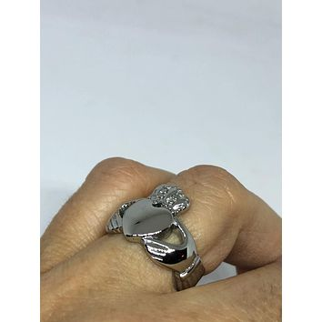 Vintage Celtic claddagh stainless steel band Ring