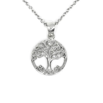 Sterling Silver Openwork Tree of Life Pendant Necklace