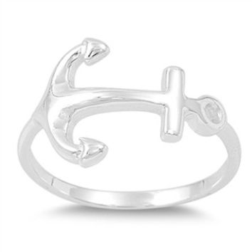925 Sterling Silver Anchor Ring 15MM