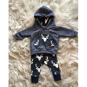 Nature Calls Newborn Toddler Baby Deer Hoodie+Pants 2pcs Outfits Set 0-12 months