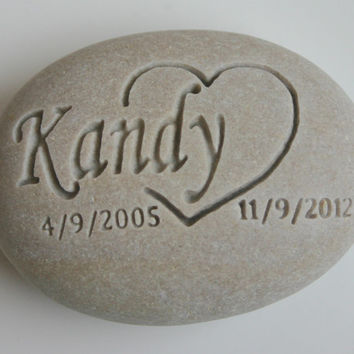 Custom Engraved Pet Memorial White Light Grey Stone Dog Cat Pet Loss