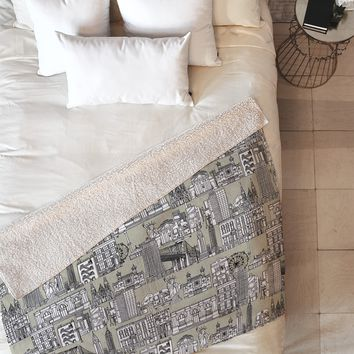 Sharon Turner New York Linen Fleece Throw Blanket