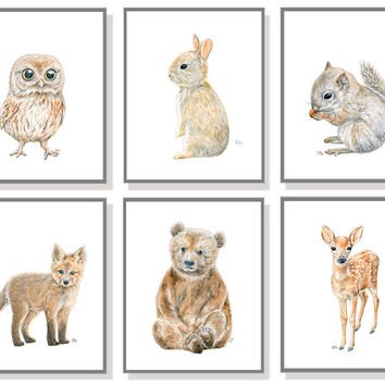 Woodland Nursery Art Animal Painting Baby Animal Prints Forest Watercolor Children Room Bear Cub Deer Fox Bunny Rabbit Owl Squirrel Set of 6