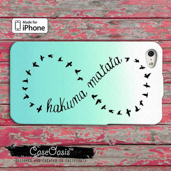 Hakuna Matata Infinity Symbol Blue Mint Ombre Cute Custom iPhone 4 and 4s Case and Custom iPhone 5 and 5s and 5c Case