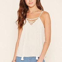 Crinkled Lace-Up Cami