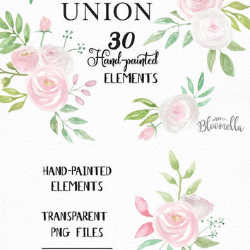 30 Watercolour Pink White Flower Clipart - Wedding Hand Painted INSTANT DOWNLOAD Elements Green PNGs Spring Summer Leaves Bridal Digital Art