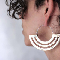 Hoop Earrings - Brass Earrings - Statement Earrings