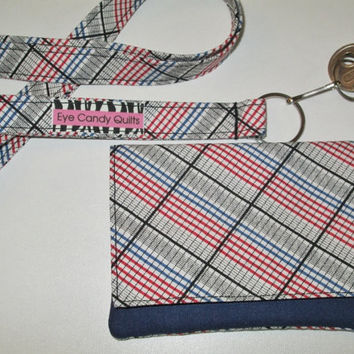 Plaid Checkbook Cover, Unisex Accessories, Checkbook Wallet, Checkbook Holder, Sewn in Elastic and 2 Pockets, Designer Fabrics