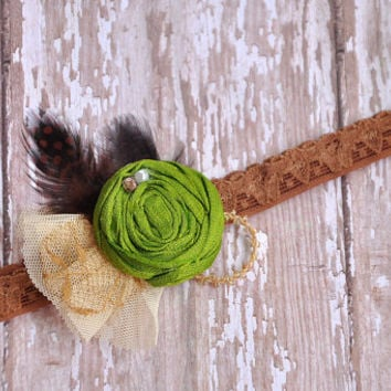 A Walk in the Woods shabby chic headband - Persnickety Bo Peep spring 2014 collection-photo prop-girls headband-boutique headband - couture
