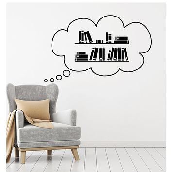 Vinyl Wall Decal Books Library Bookstore Bookworm Reading Stories Stickers Mural (g2717)
