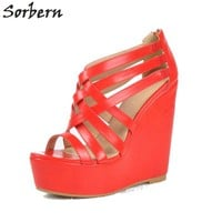 Sorbern Watermelon Women Wedges Sandals Plus Size PU Size 45 Womens High Heel Shoes Party Shoes Pumps Zapatos Mujer Cheap Shoes