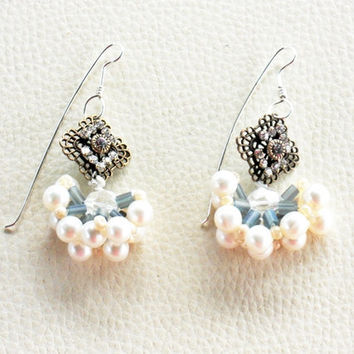 Beaded Pearl and Rhinestone Encrusted Earrings with Swarovski Crystal Elements