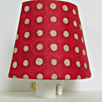 Red Night Light Shade with Plug - Red and White Polka Dot Night Light - Nursery Night Light - Baby Boy Nursery Decor - Christmas Night Light