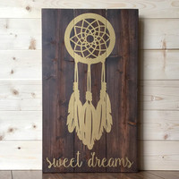 Sweet Dreams Dream Catcher Wood Sign - Metallic Gold - Rustic - Bedroom - Nursery - Decor