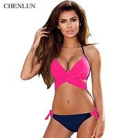 CHENLUN Sexy Bandage Backless Bikini Women Swimwear Brazilian Swimsuit Cross Patchwork Biquini Push Up Bathing Suits VV766