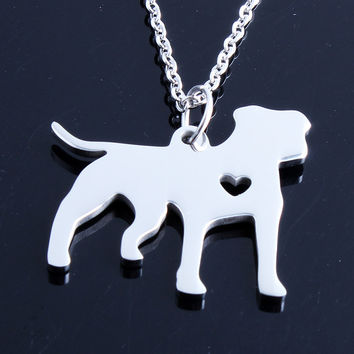 1Pc Gold/Silver Pit Bull Dog Pendant Chain Necklace Women Pittie Heart Charm Memorial Gift Necklaces Bijoux Collier Femme Mujer