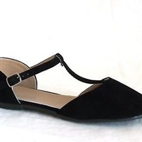 New Women Pointy Toe Mary Jane Ankle T Strap Ballerina Ballet Flat Shoe^^