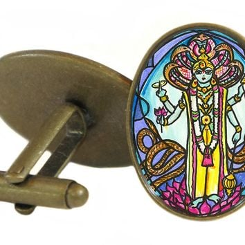 "Lord Vishnu for Strength, Protection, Grace 1"" Oval Pair of Cufflinks"