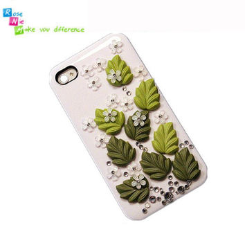 iPhone 4 & 4S mobile handmade hard case Green leaves by RoseNie 97827640