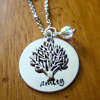 Divergent Inspired Factions Necklace. Amity Faction. Tris. Silver colored, charm pendant, Swarovski crystal, hand stamped jewelry.