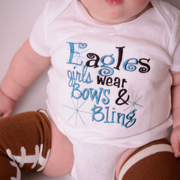 Girls Football Shirt-- Eagles girls like bling bodysuit or t shirt  colors can be customized for any high school or team