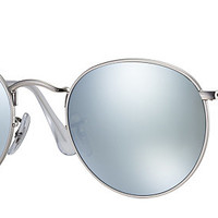 Ray-Ban RB3447 019/30 50-21 ROUND FLASH LENSES Silver sunglasses | Official Online Store US