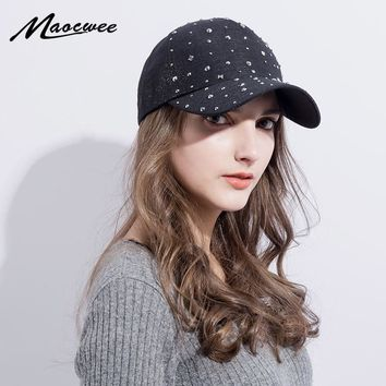 Trendy Winter Jacket Pink Napback Hat Adjustable Bling Women Men Denim Rhinestone Studded Baseball Hat Sun Cap Black Hat Female Outdoor Casual hats AT_92_12