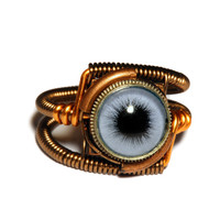 Steampunk Jewelry - Ring - Blue taxidermy glass eye 8.5 Only