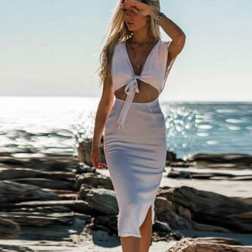 2019 Summer Women Solid Deep V-Neck Fashion Strapless Midi Sexy Hollow Casual Bodycon Pencil Dress Fashion Dresses