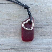 Red Sea Glass Necklace Heart Oxblood Garnet by WaveofLife