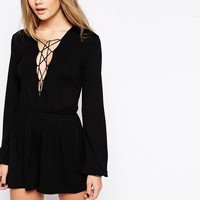 ASOS Playsuit with Lace up Front