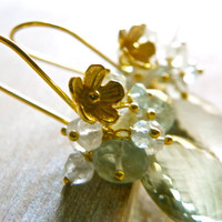 Cluster Earrings with Green Amethyst and by TheNorthWayStudio