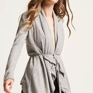 Ribbed Self-Tie Cardigan
